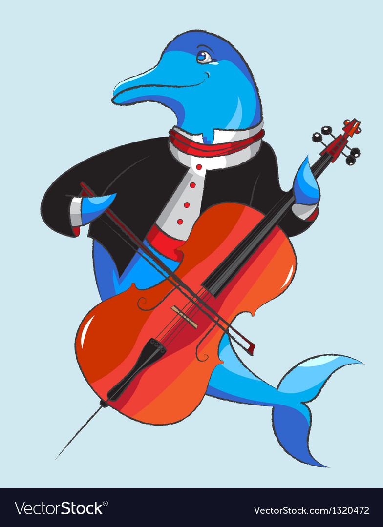 Dolphin and violoncello vector | Price: 1 Credit (USD $1)