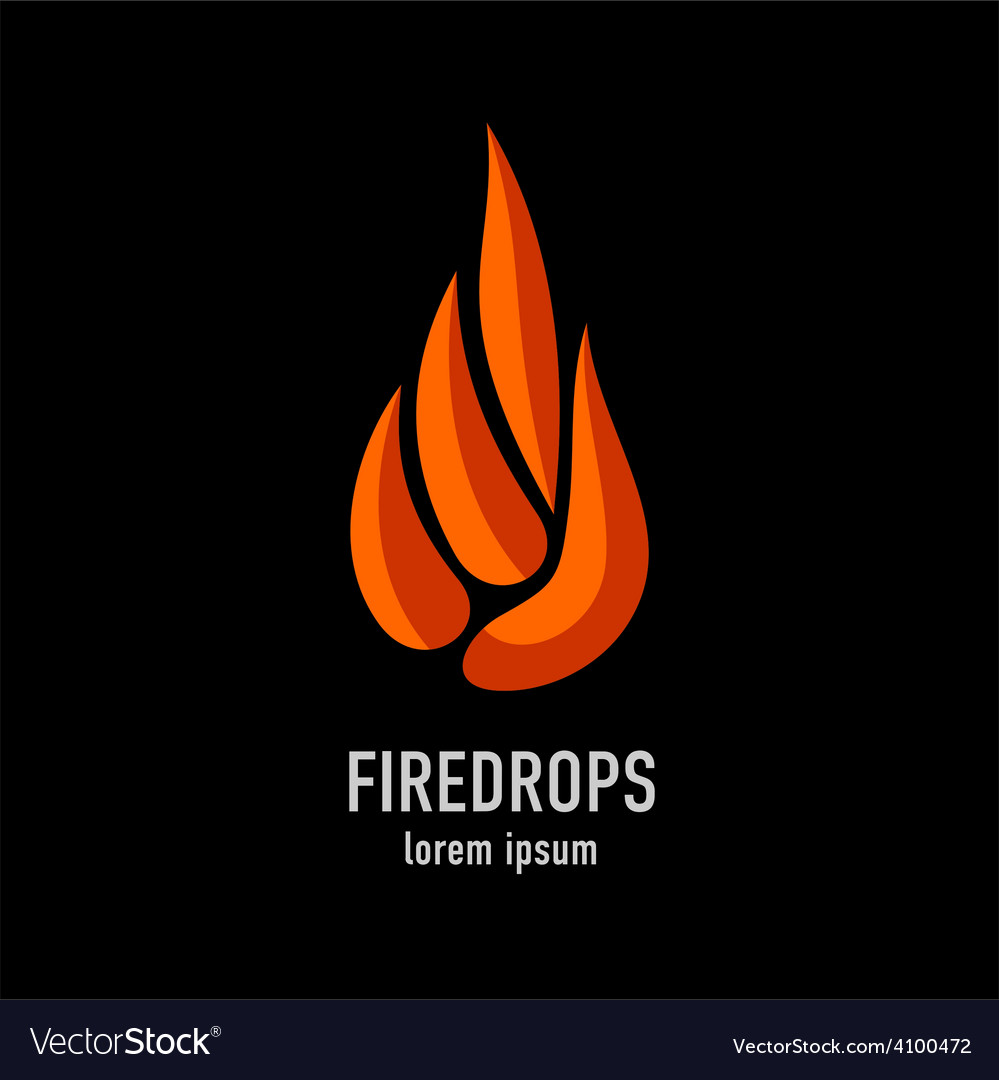 Fire flames in a drop shape logo template vector | Price: 1 Credit (USD $1)