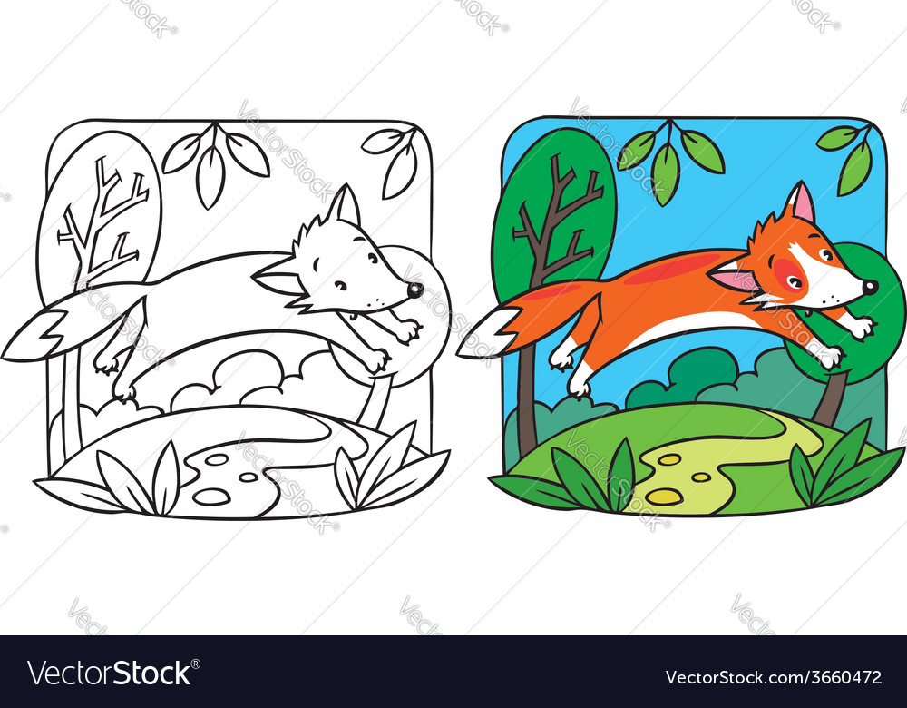 Little red fox coloring book vector | Price: 1 Credit (USD $1)