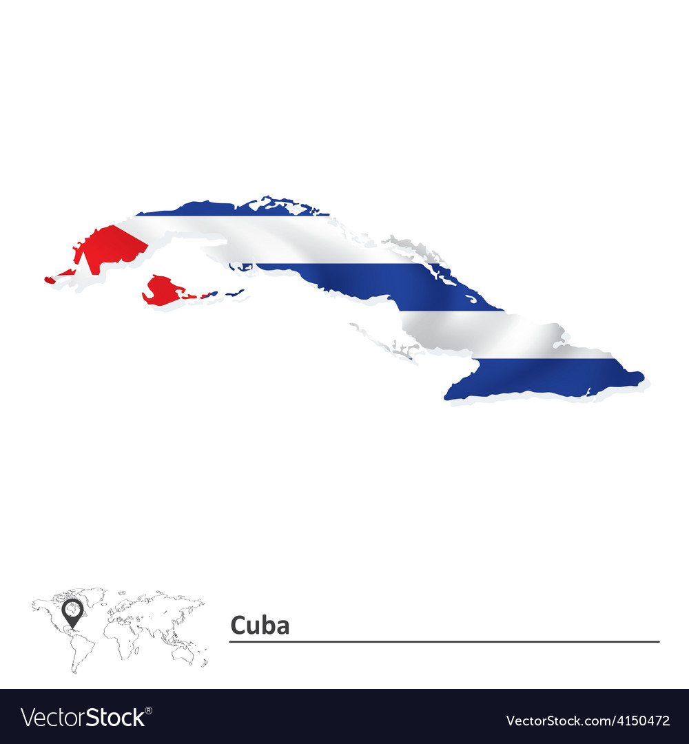 Map of cuba with flag vector | Price: 1 Credit (USD $1)
