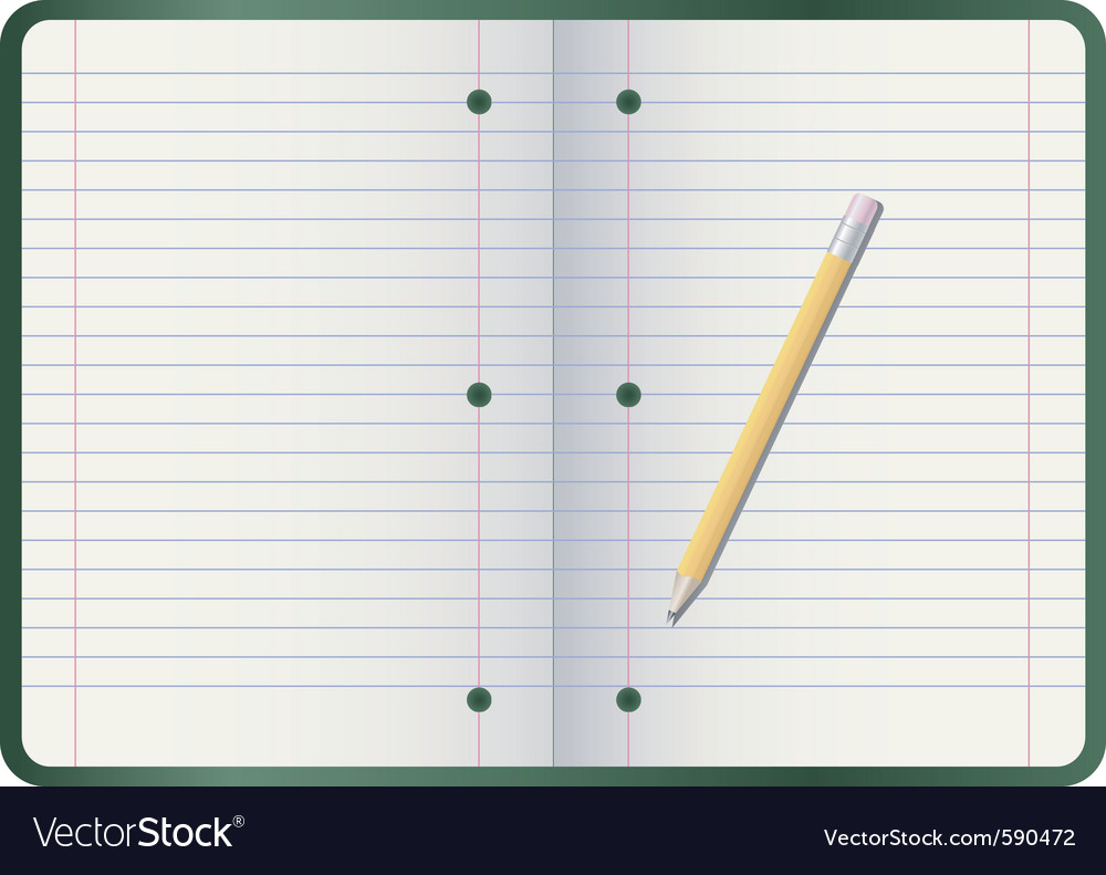 Pencil on notebook vector | Price: 1 Credit (USD $1)