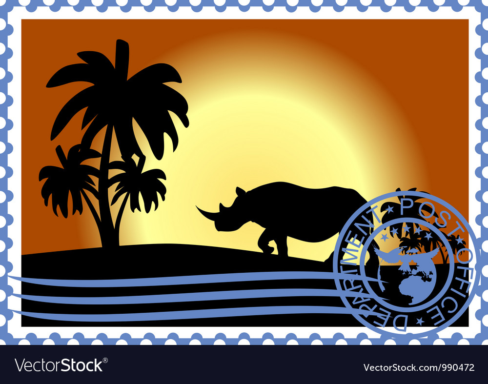 Postage stamp savannah vector | Price: 3 Credit (USD $3)