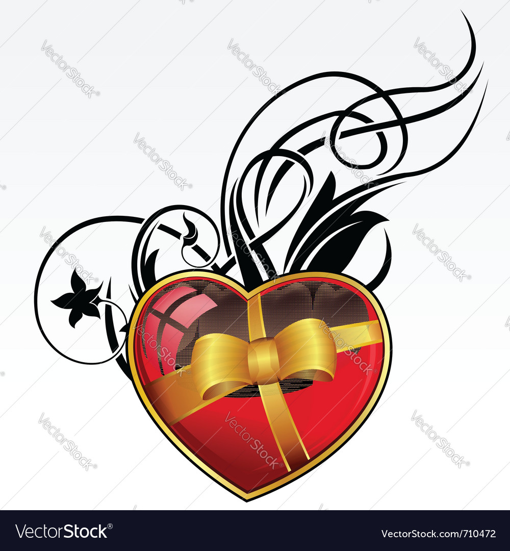 Red heart with bow and ribbon for valentines day vector | Price: 1 Credit (USD $1)