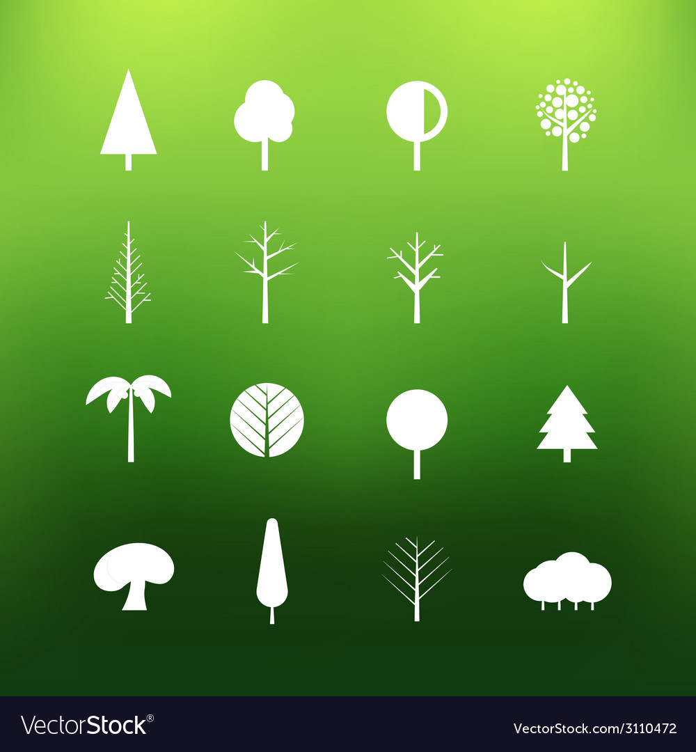 White tree icons clip-art on color background vector | Price: 1 Credit (USD $1)