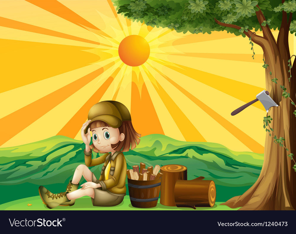 A girl sitting beside the chopped woods vector | Price: 1 Credit (USD $1)