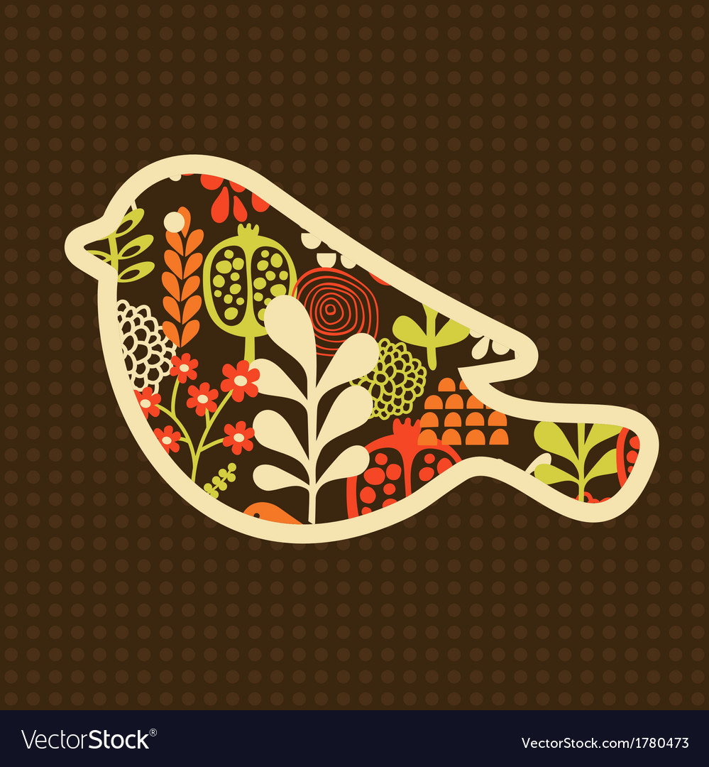 Bird with flowers vector | Price: 1 Credit (USD $1)