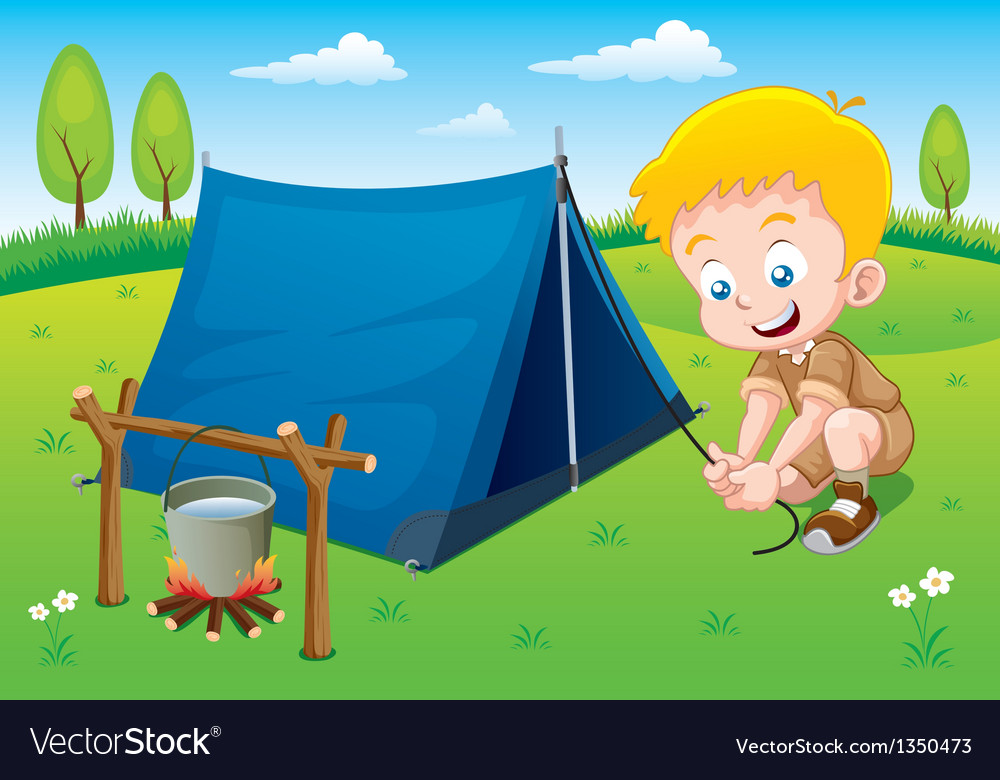 Boy scout in camp vector | Price: 3 Credit (USD $3)