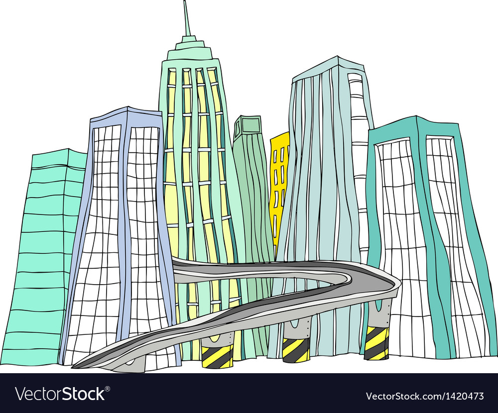 City skyline sketch vector | Price: 1 Credit (USD $1)