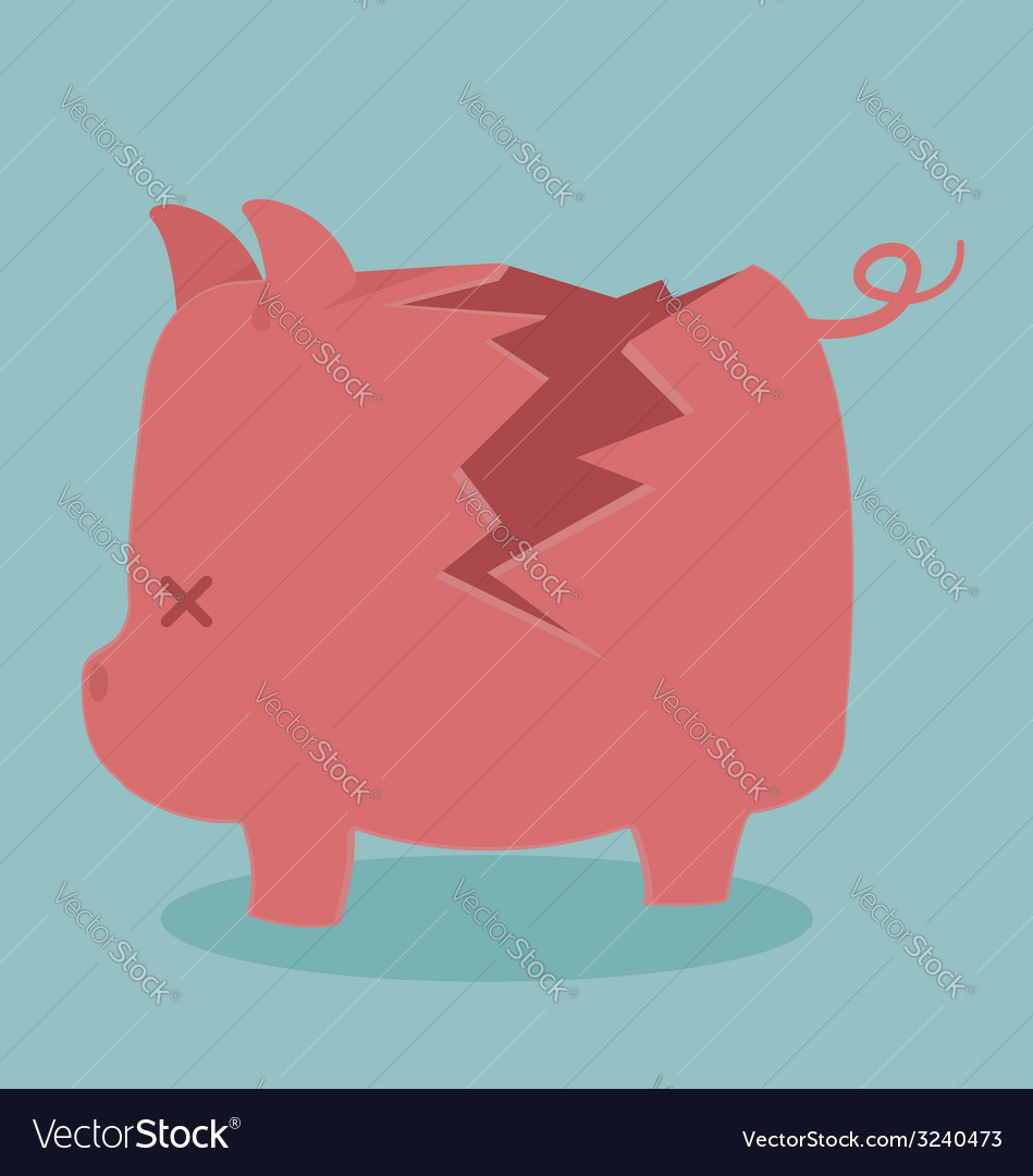 Cracking piggy bank vector | Price: 1 Credit (USD $1)