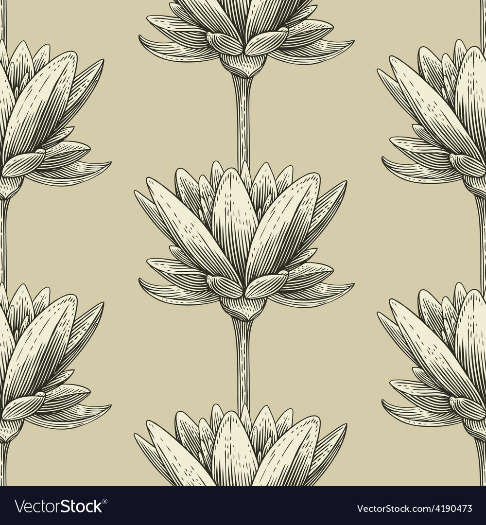 Engraved lotus vector | Price: 1 Credit (USD $1)