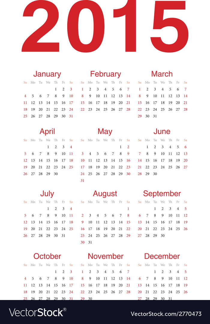 European 2015 year calendar vector | Price: 1 Credit (USD $1)
