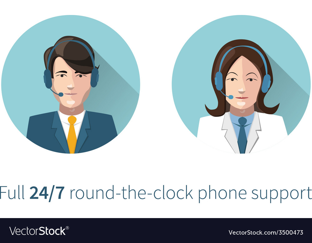 Full round-the-clock phone support icons vector | Price: 1 Credit (USD $1)