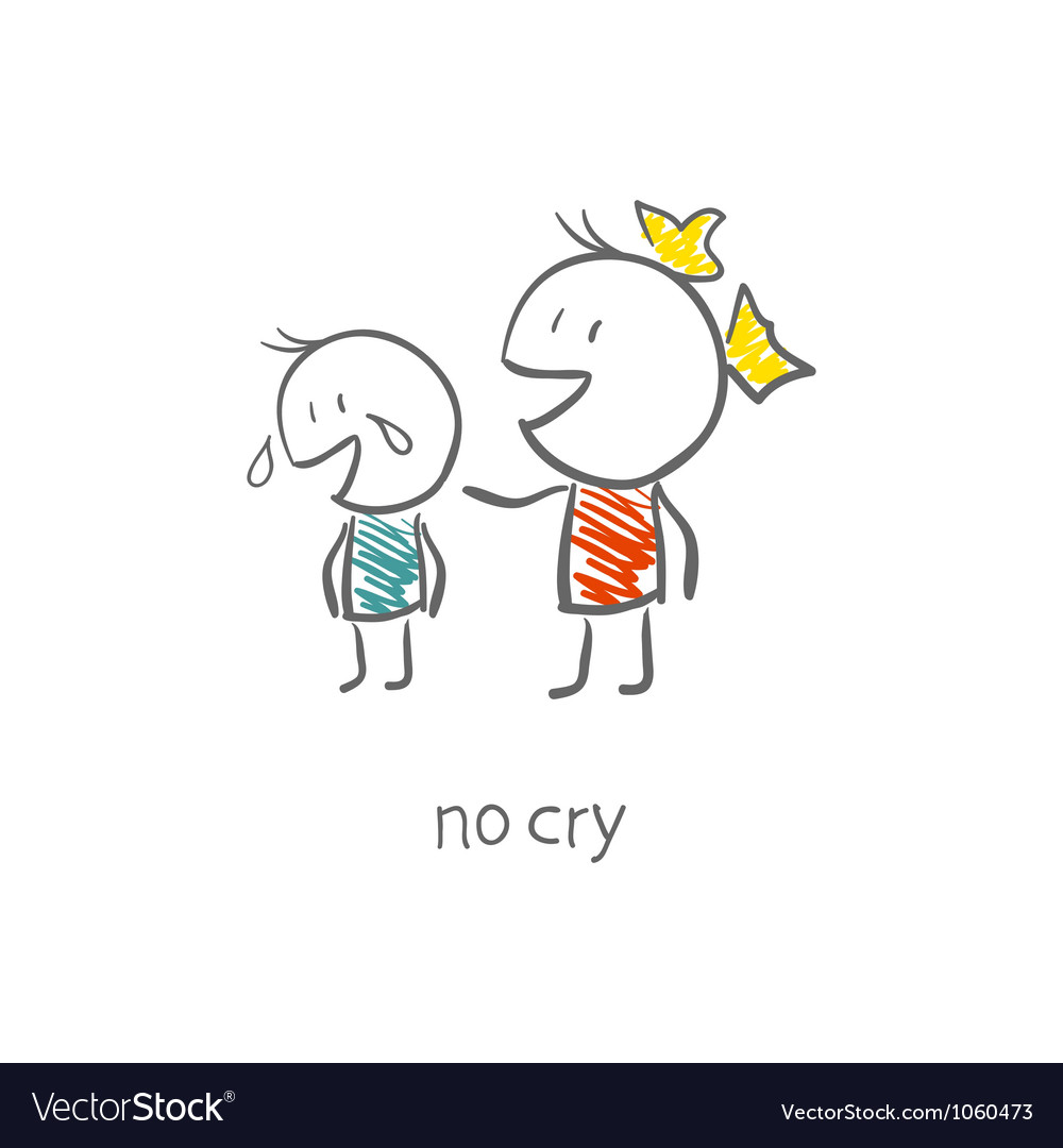 The girl comforted the crying boy vector | Price: 1 Credit (USD $1)