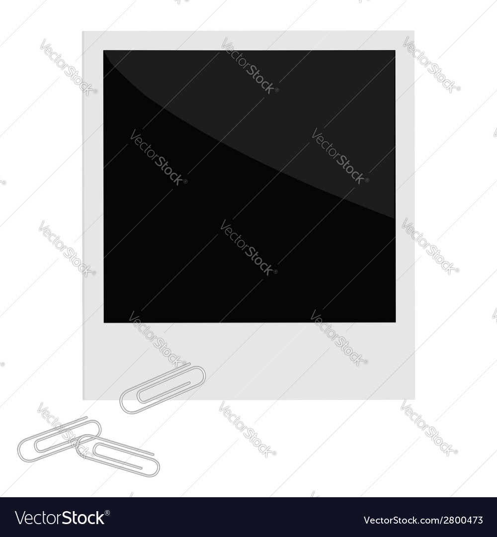 Isolated instant photo with paperclips in flat vector | Price: 1 Credit (USD $1)