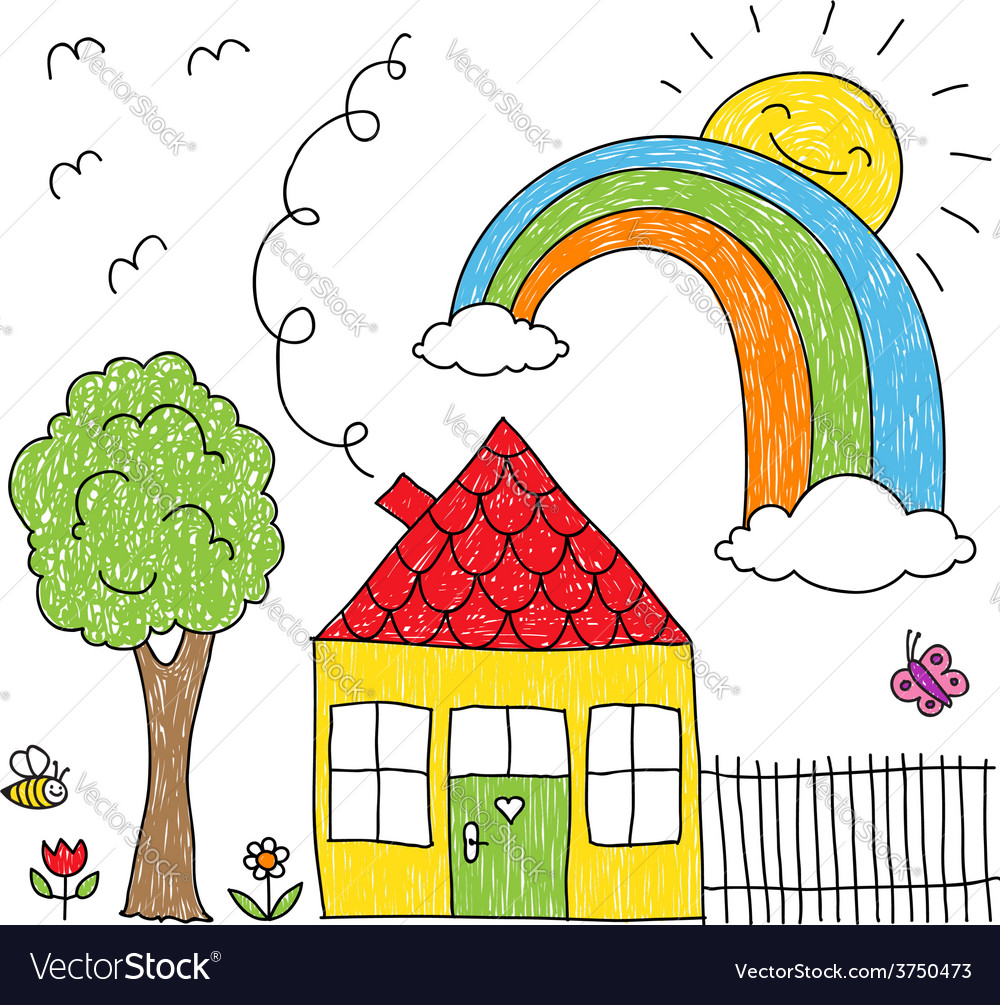 Kid s drawing of a house a tree and a rainbow vector | Price: 1 Credit (USD $1)