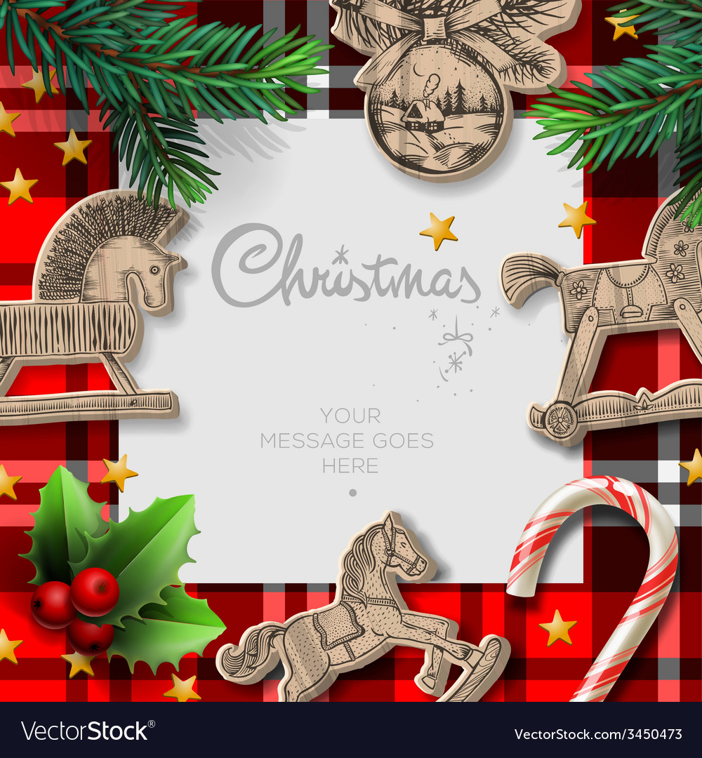 Merry christmas template with rocking toys and vector | Price: 3 Credit (USD $3)