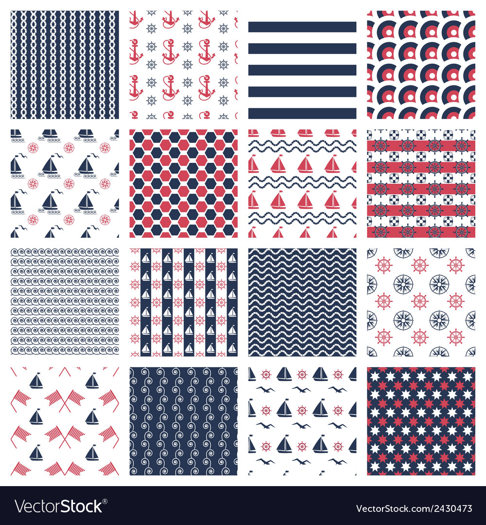 Nautical or marine seamless patterns vector | Price: 1 Credit (USD $1)