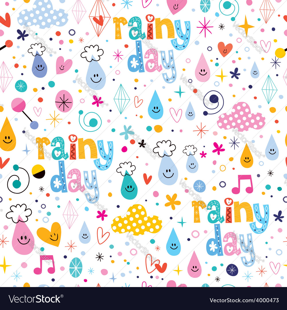 Rainy day fun characters cartoon seamless pattern vector | Price: 1 Credit (USD $1)
