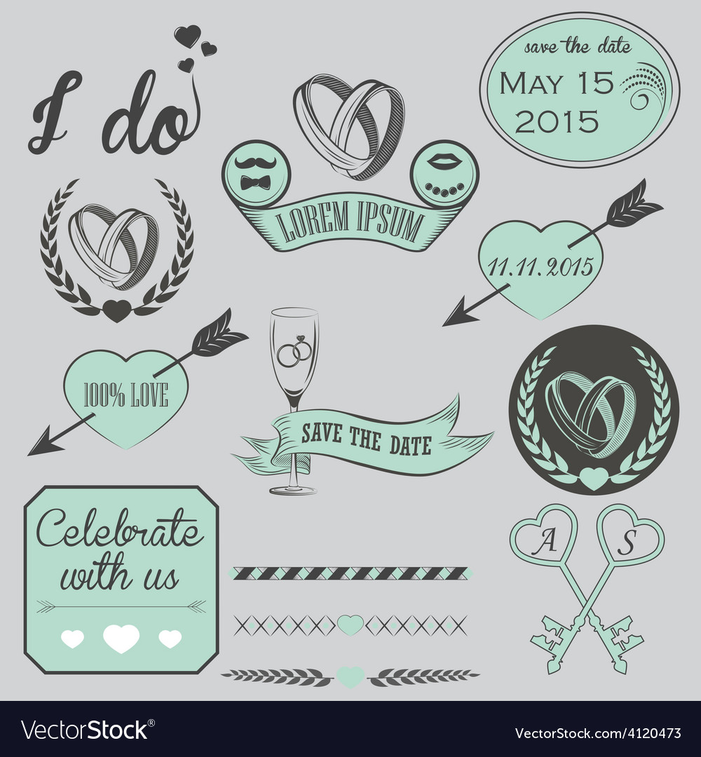 Set of wedding ornaments and decorative elements vector | Price: 1 Credit (USD $1)