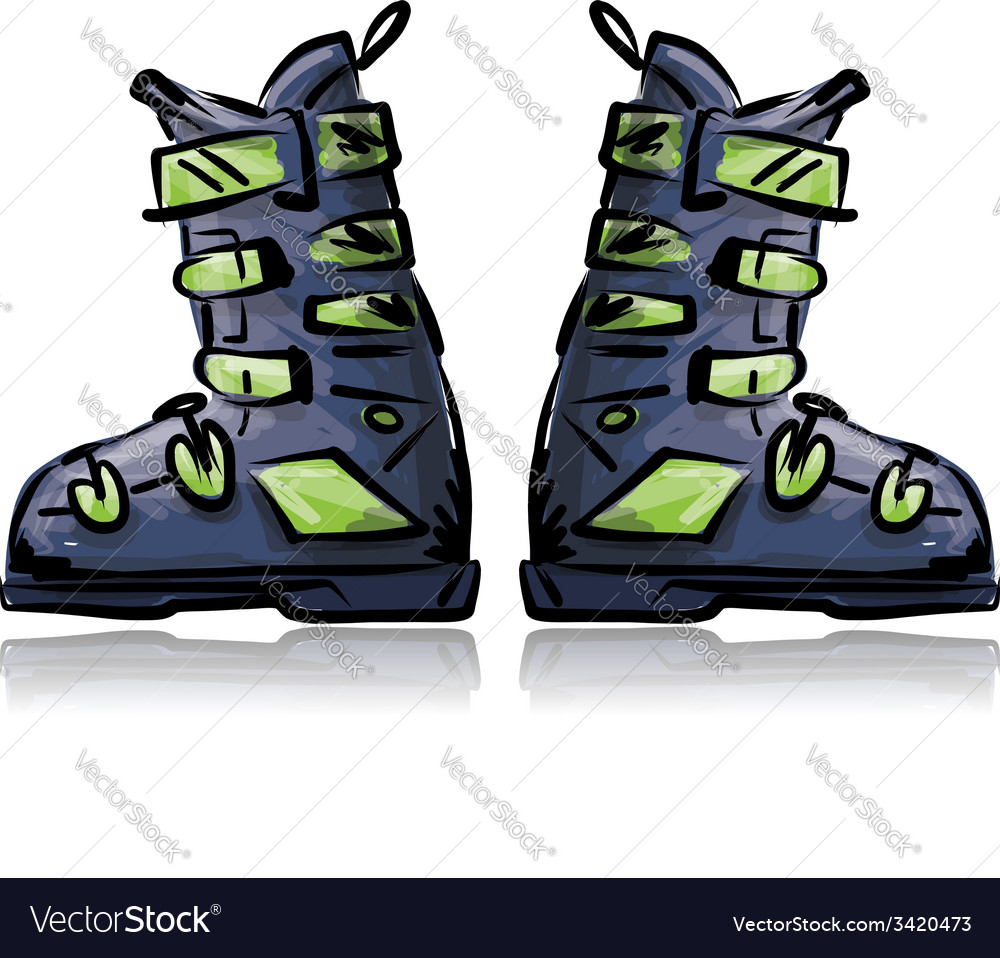 Ski boots sketch for your design vector | Price: 1 Credit (USD $1)