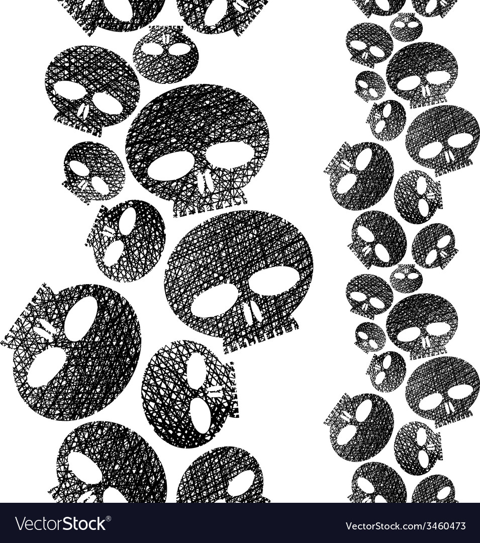 Skulls seamless pattern horror and hard rock theme vector | Price: 1 Credit (USD $1)