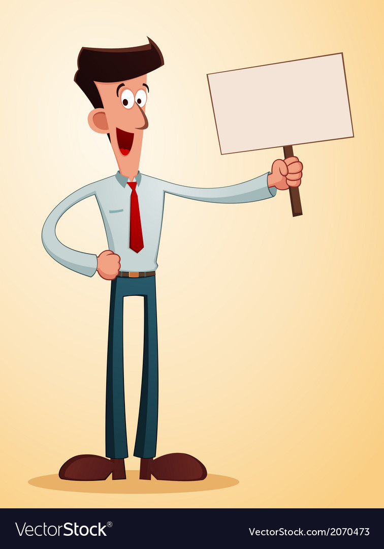 Smiling businessman carrying a talkingboard vector | Price: 1 Credit (USD $1)