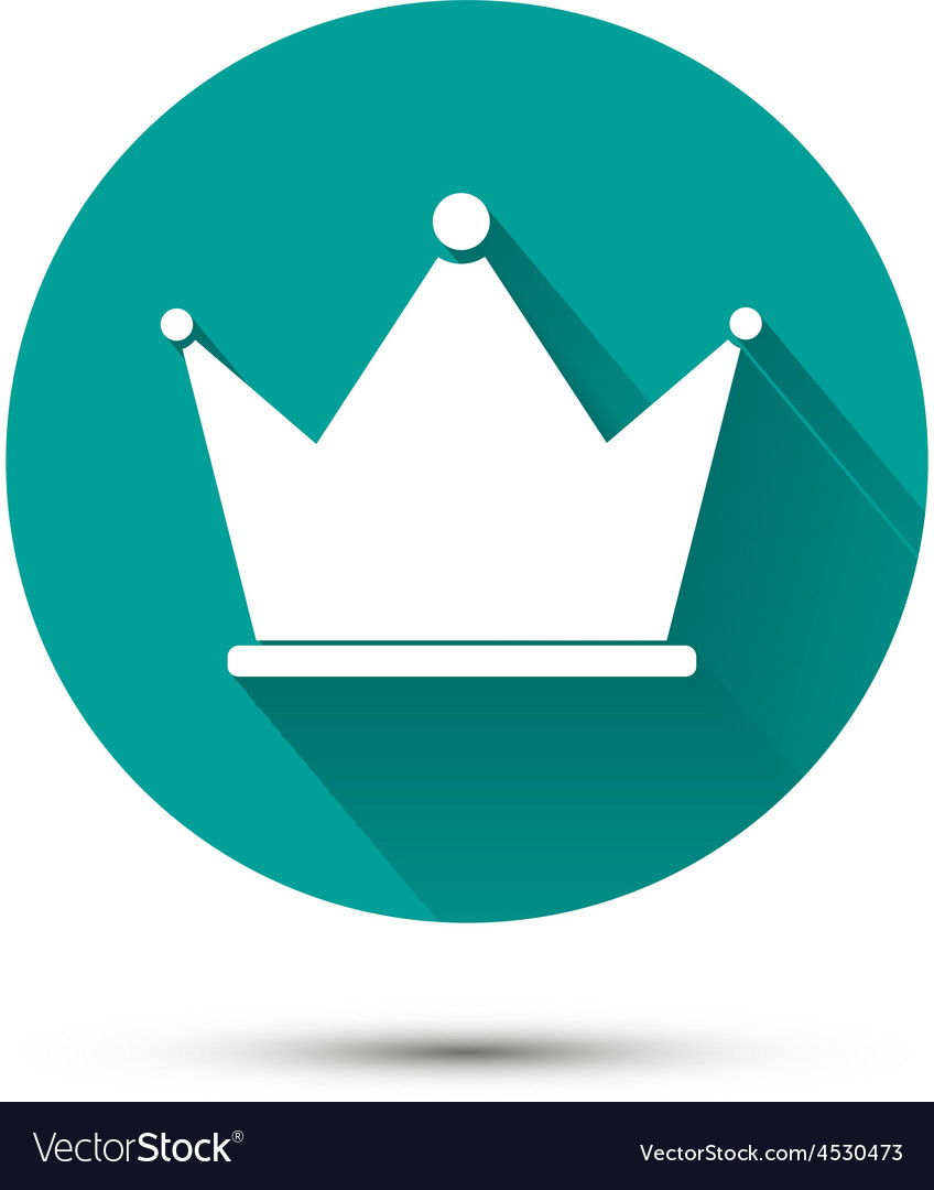 White crown icon on green background with shadow vector | Price: 1 Credit (USD $1)