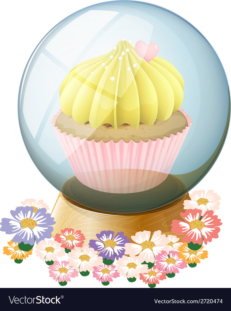 A clear crystal ball with a cupcake inside vector | Price: 1 Credit (USD $1)