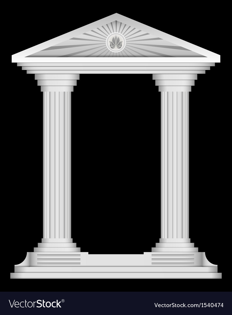 Antique roman temple frame for design vector | Price: 1 Credit (USD $1)