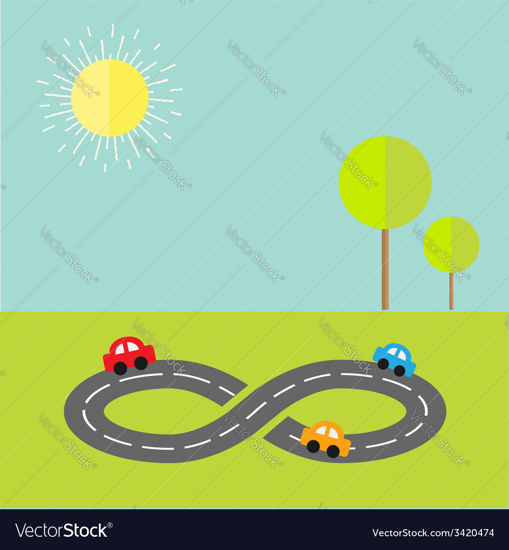 Background with road infinity sign cartoon cars vector | Price: 1 Credit (USD $1)