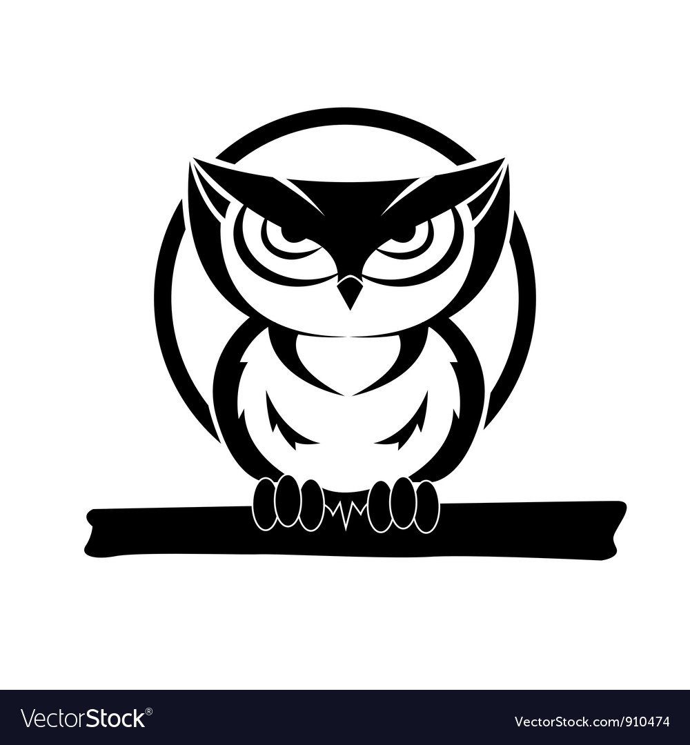 Black and white owl vector | Price: 1 Credit (USD $1)