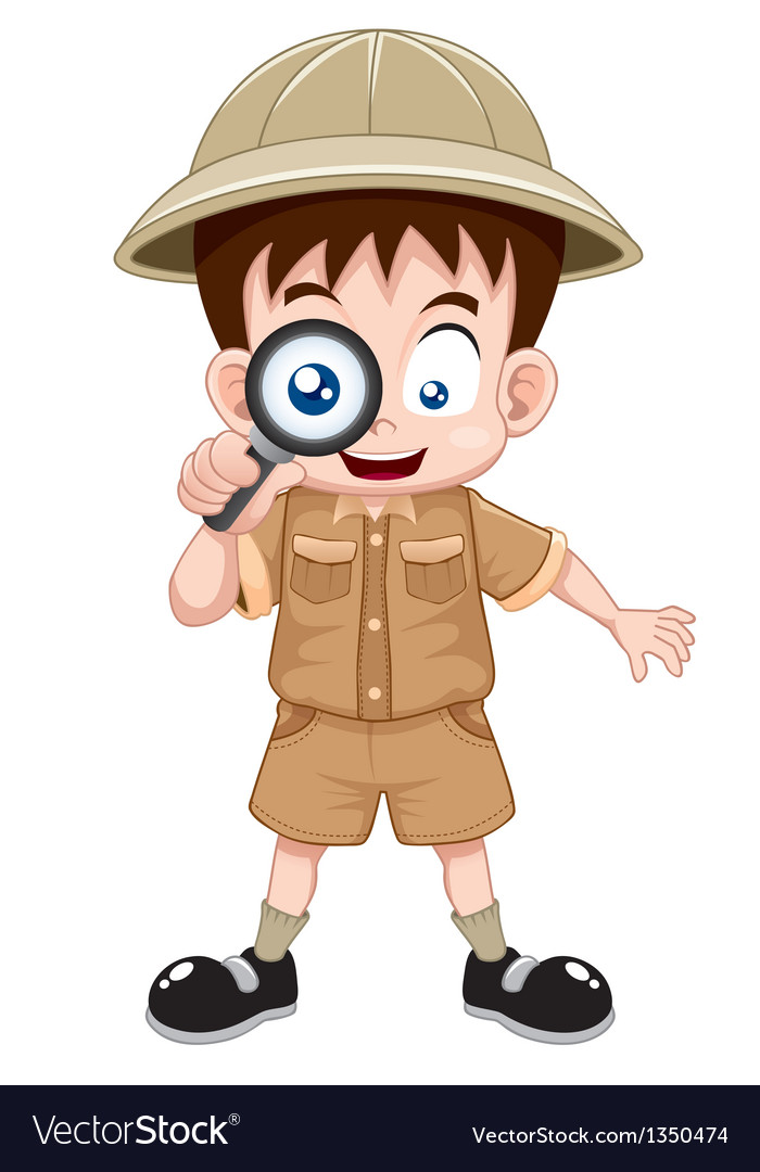 Boy scout with magnifying glass vector