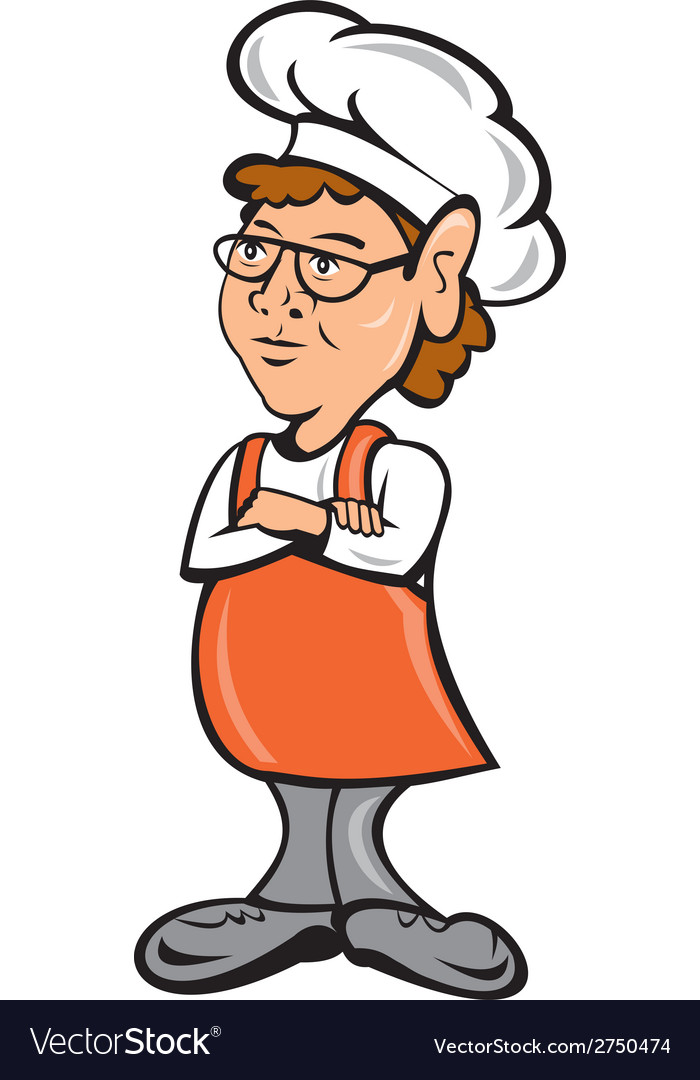 Chef cook female arms folded cartoon vector | Price: 1 Credit (USD $1)