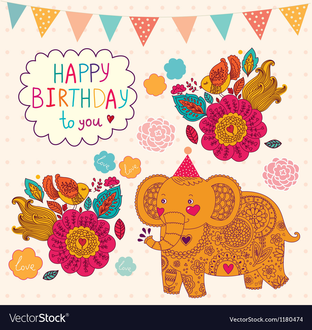 Elephant birthday greeting design vector | Price: 3 Credit (USD $3)