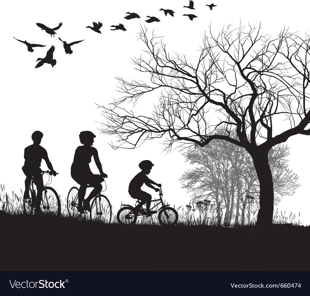 Family cycling in the countryside vector | Price: 1 Credit (USD $1)