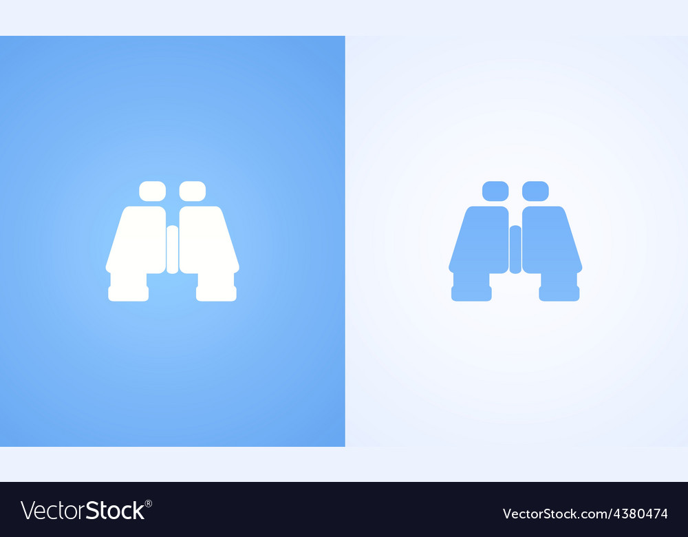 Flat binoculars on white and blue backgrounds vector | Price: 1 Credit (USD $1)