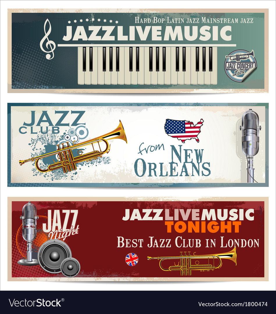 Jazz background set vector | Price: 1 Credit (USD $1)