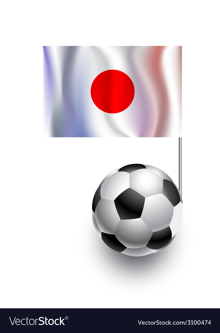Soccer balls or footballs with flag of japan vector | Price: 1 Credit (USD $1)