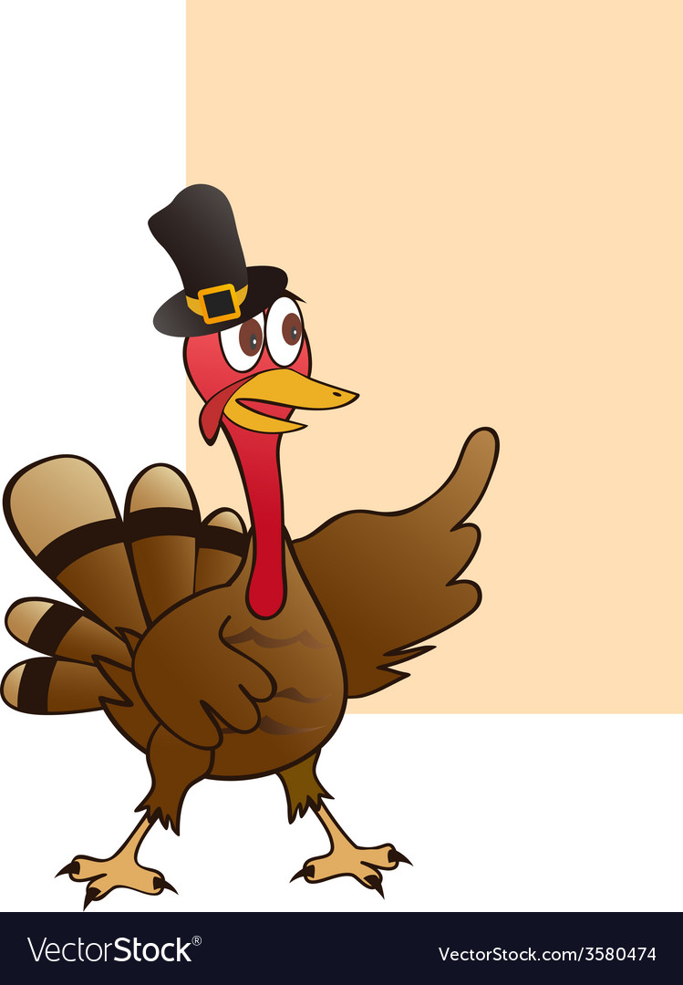 Thanksgiving turkey with blank sign vector | Price: 1 Credit (USD $1)