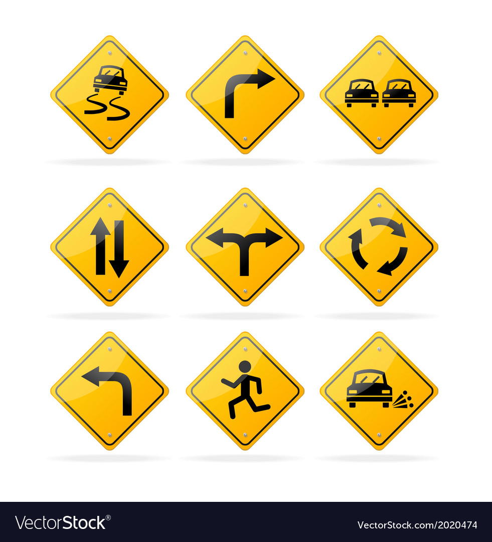 Yellow road traffic signs set vector | Price: 1 Credit (USD $1)