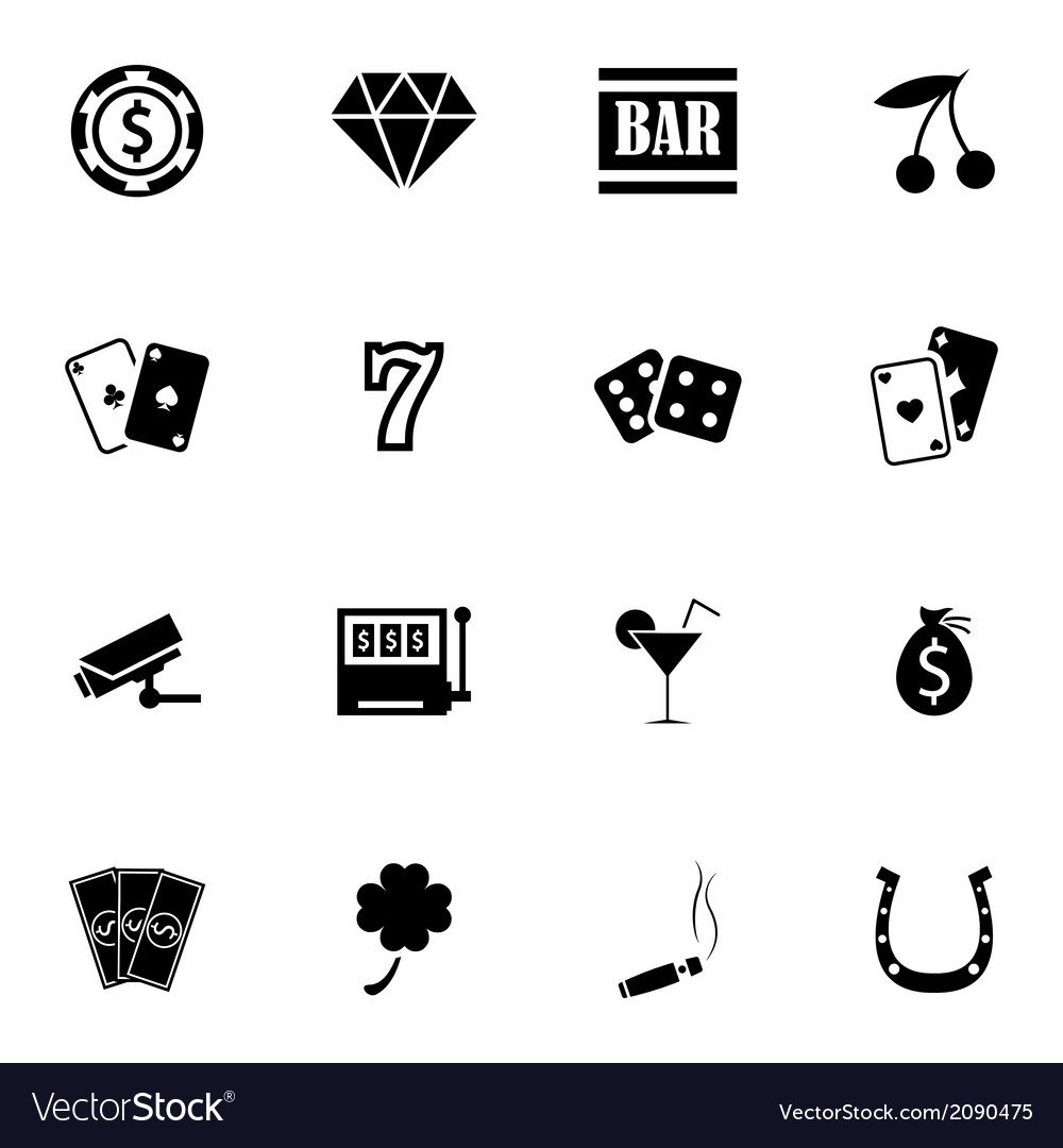 Black casino icons set vector | Price: 1 Credit (USD $1)