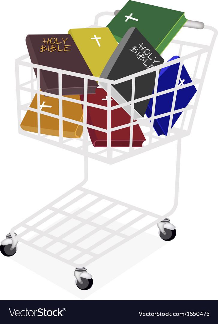 Colorful holy bibles in a shopping cart vector | Price: 1 Credit (USD $1)