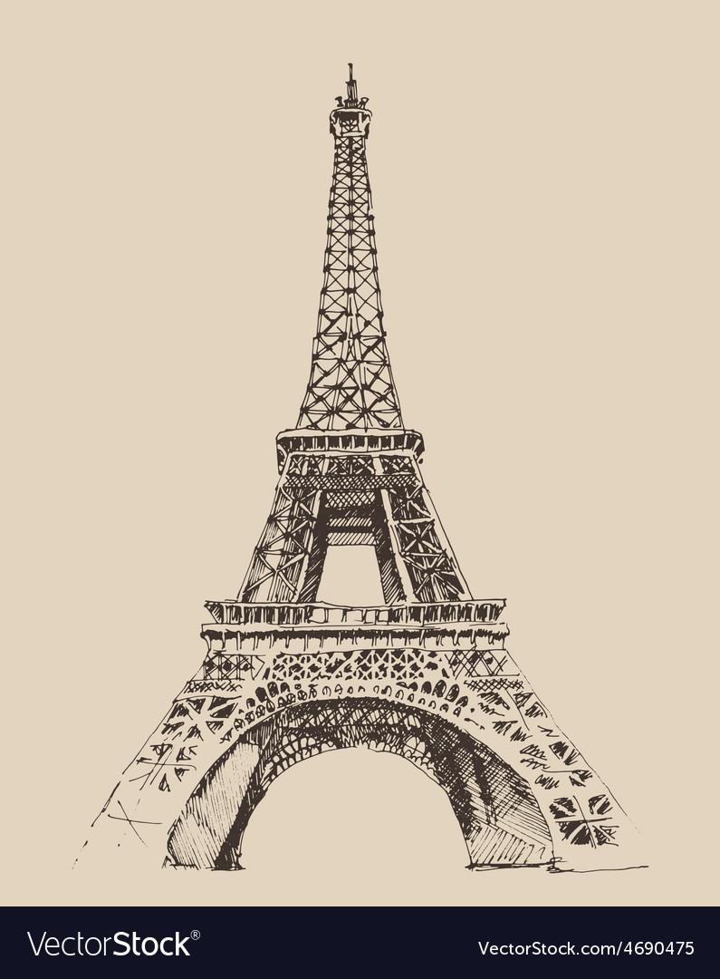 Eiffel tower paris france architecture vintage e vector | Price: 1 Credit (USD $1)
