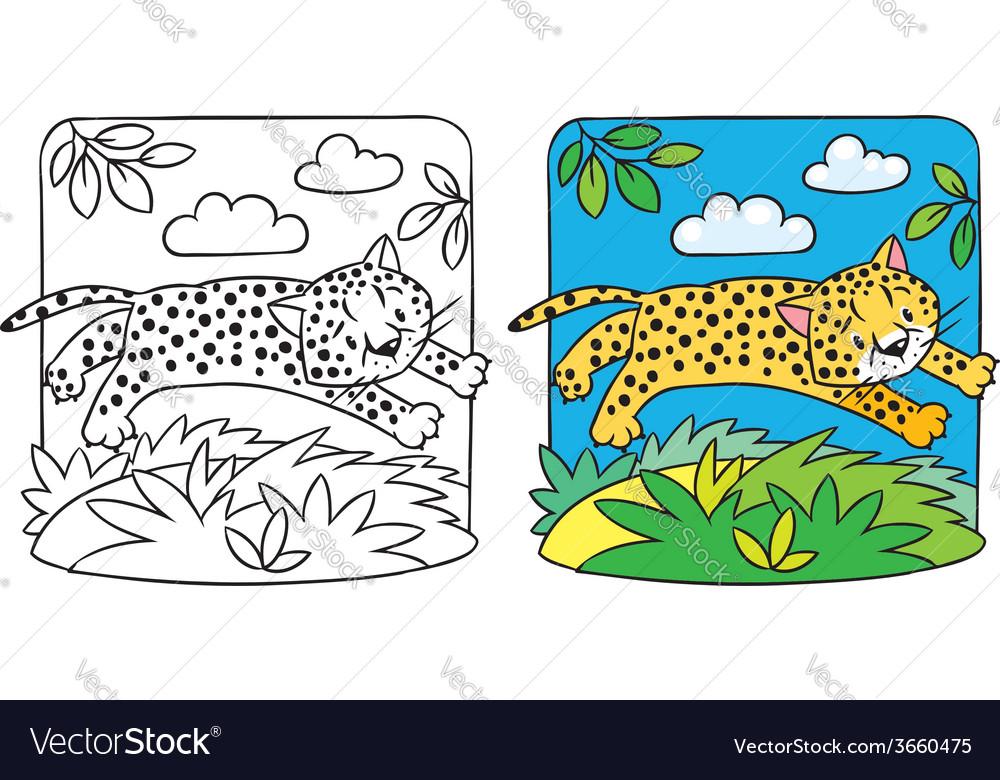 Little cheetah or jaguar coloring book vector | Price: 1 Credit (USD $1)