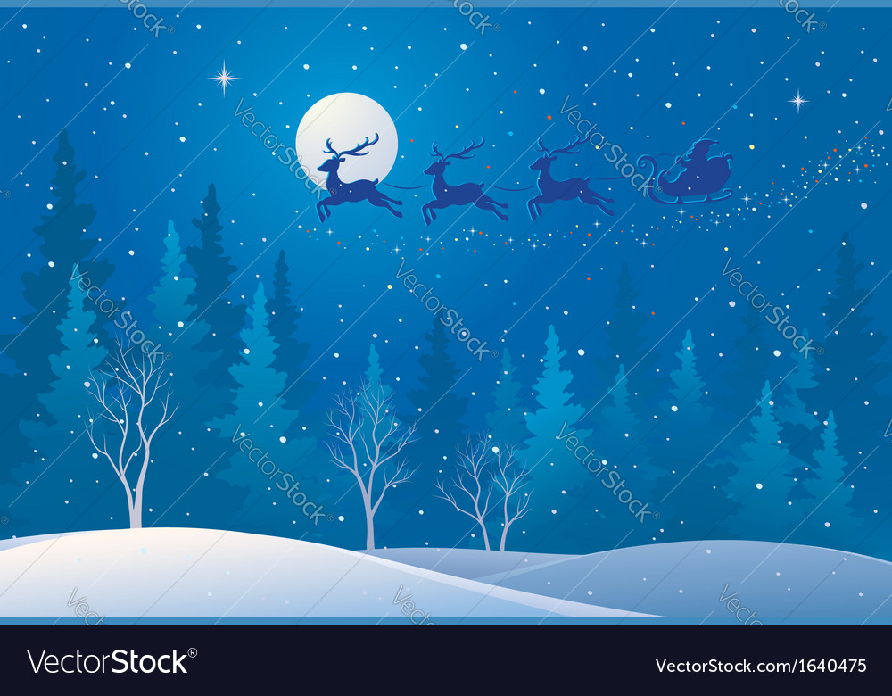 Santa sleigh above forest vector | Price: 1 Credit (USD $1)
