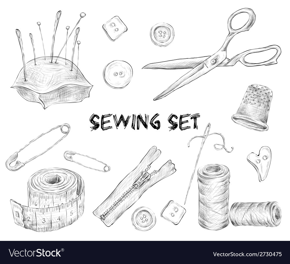 Sewing sketch set vector | Price: 1 Credit (USD $1)