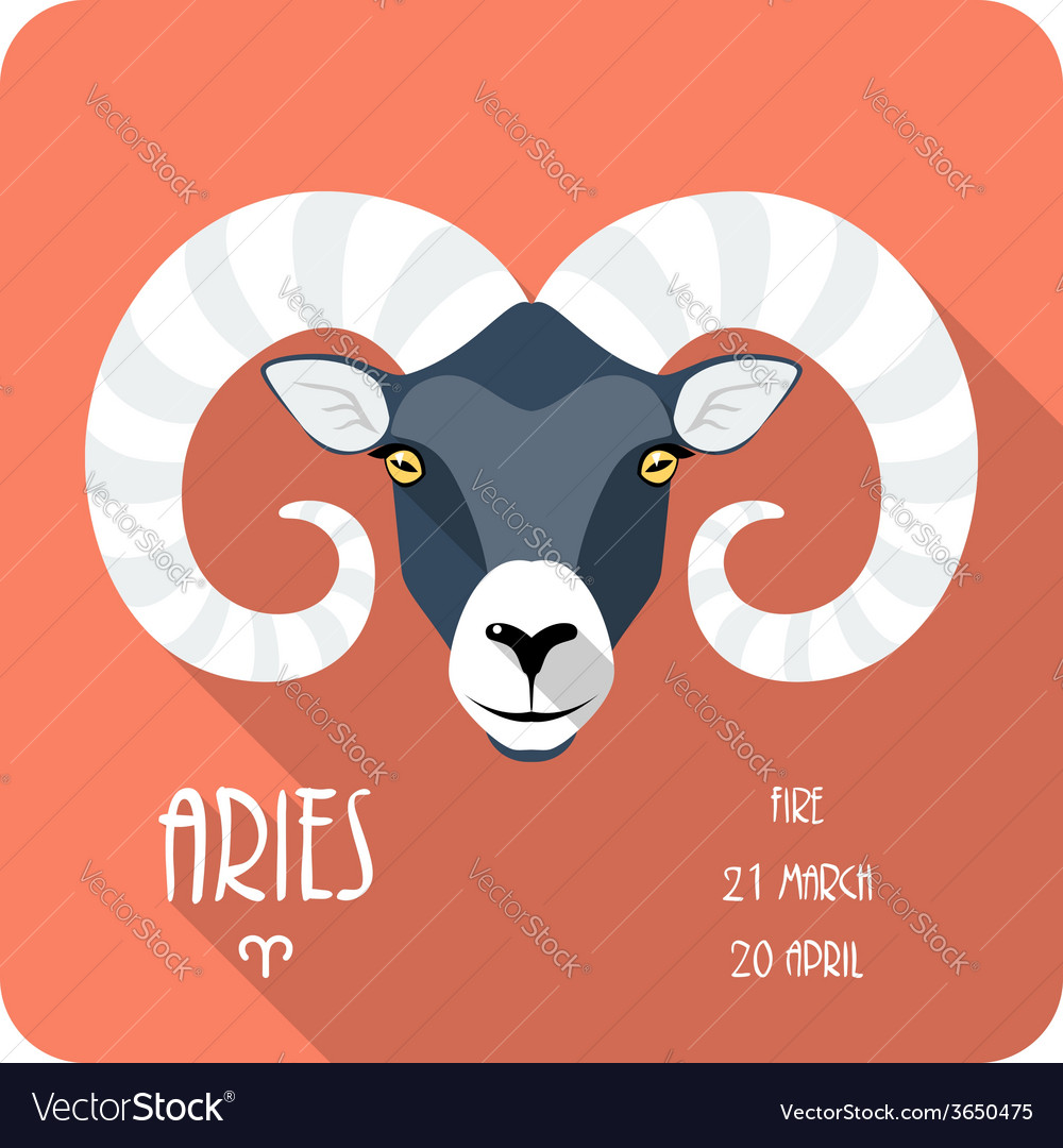 Zodiac sign aries icon flat design vector | Price: 1 Credit (USD $1)