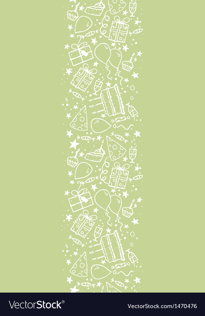 Birthday doodle vertical seamless pattern vector | Price: 1 Credit (USD $1)
