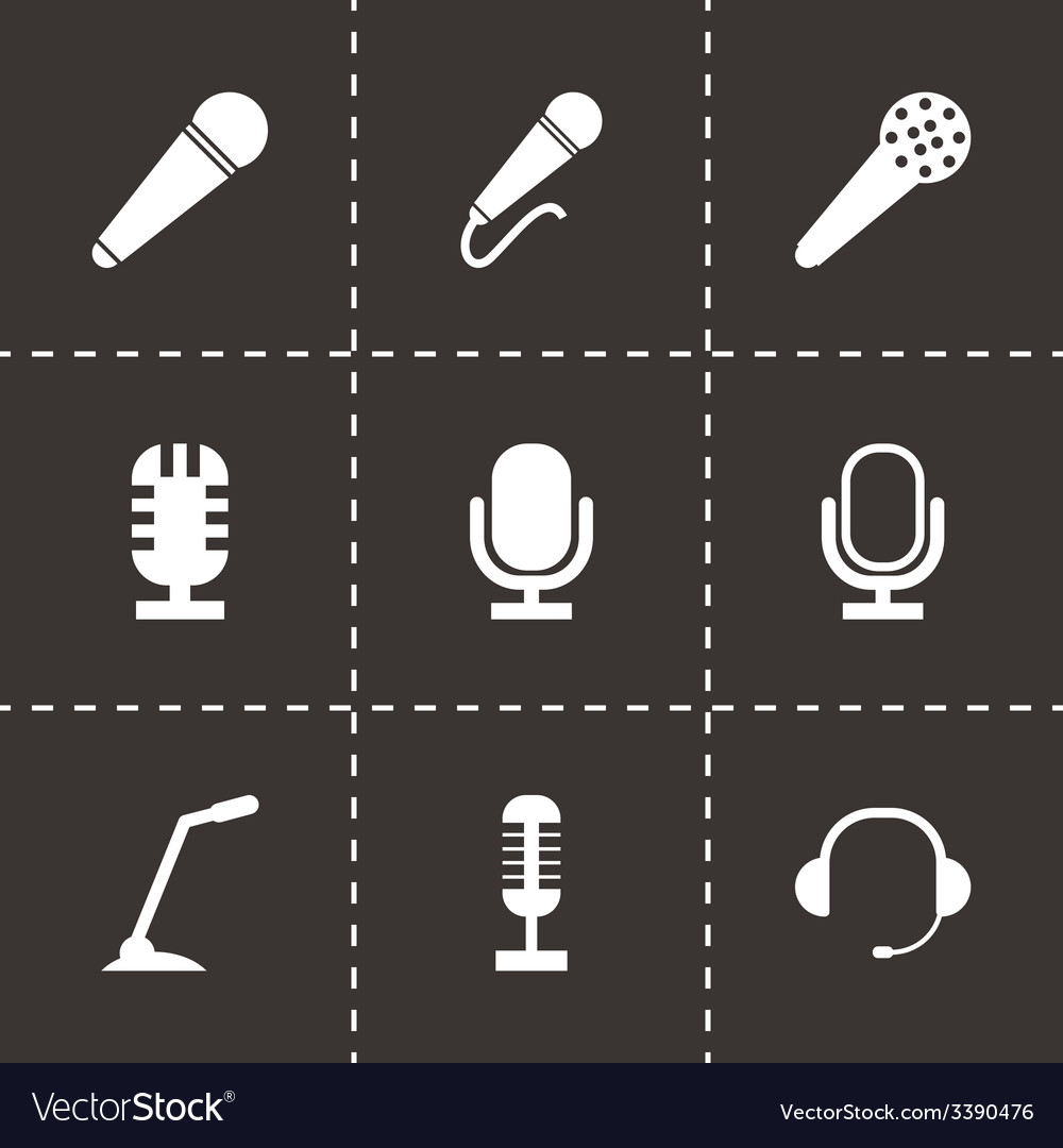 Black microphone icons set vector | Price: 1 Credit (USD $1)