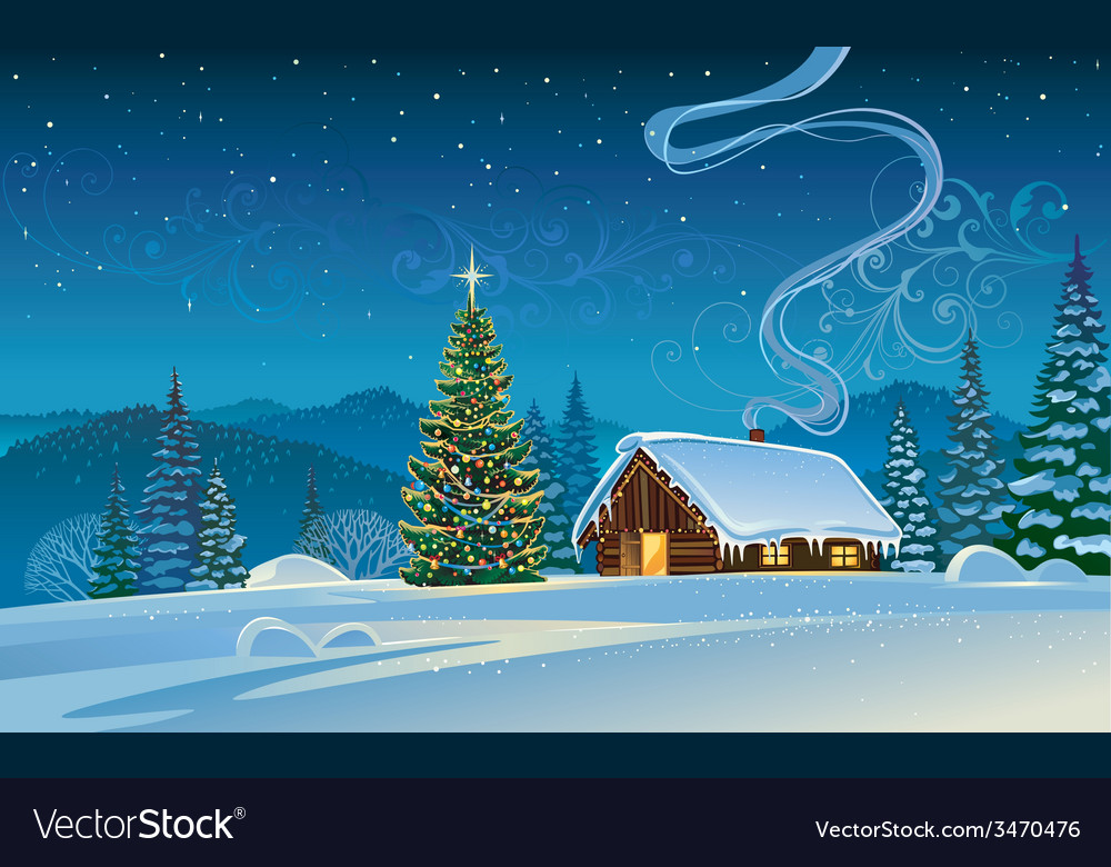 Forest house with the christmas tree vector | Price: 3 Credit (USD $3)